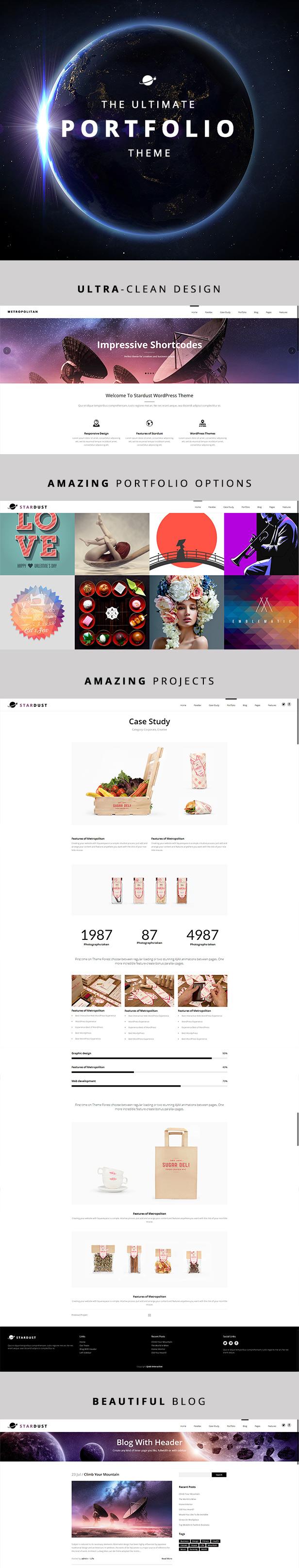 Stardust - Mehrzweck-Portfolio WordPress Vorlage