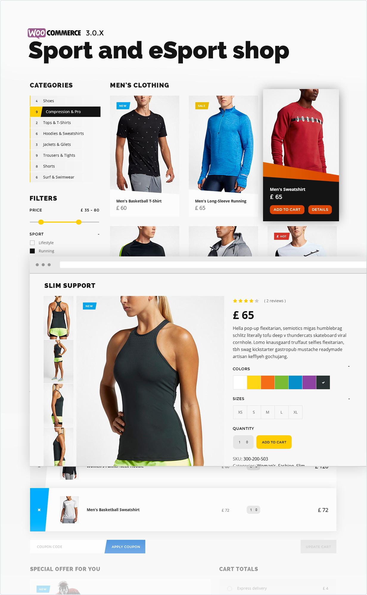 Sport und eSport Shop auf woocommerce 3.0.X