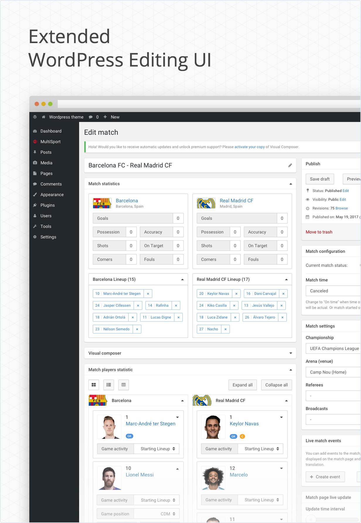 Erweiterte Benutzeroberfläche von wordpress Admin-Panel
