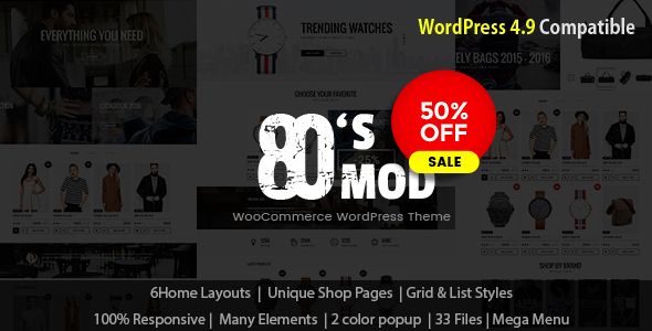 Wordpress Shop Template 80's Mod - Build Your Store with A Vintage Styled WooCommerce WordPress Theme