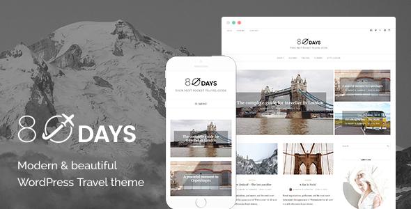 Wordpress Blog Template EightyDays - A WordPress Travel Theme For Travel Blogs