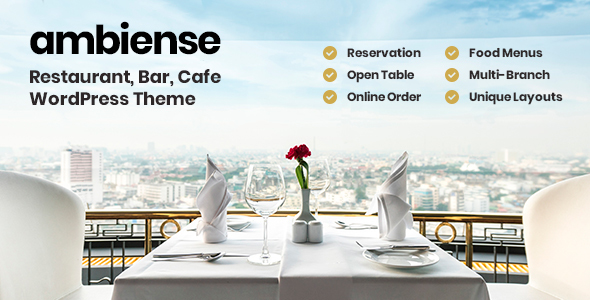 Wordpress Entertainment Template Ambiense - Restaurant & Cafe WordPress Theme