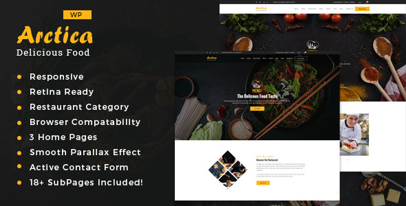 Wordpress Entertainment Template Artica : Restaurant WordPress theme