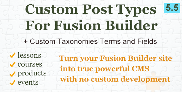 Wordpress Add-On Plugin Custom Post Types and Taxonomies for Fusion Builder