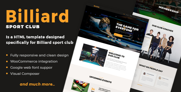Wordpress Entertainment Template Billiard - Creative Sporting  WordPress Theme