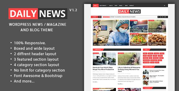 Wordpress Blog Template Daily News - WordPress News / Magazine And Blog Theme