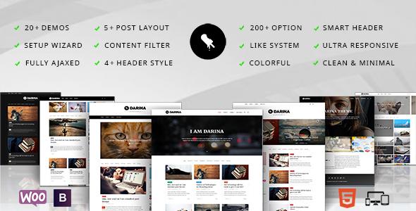 Wordpress Blog Template Darina - Minimal Blog / Portoflio & Shop Theme