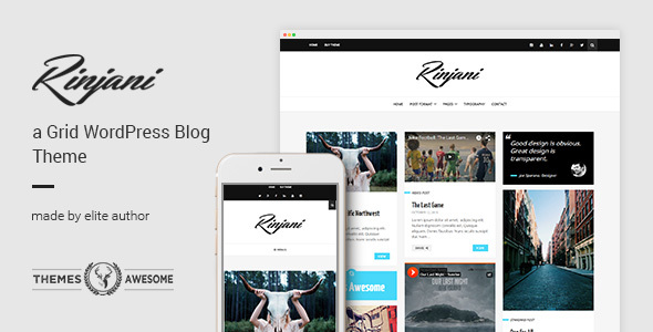 Wordpress Blog Template A Responsive Grid Blog Theme - Rinjani