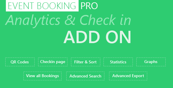 Wordpress Add-On Plugin Event Booking Pro: Analytics & Checkin Addon