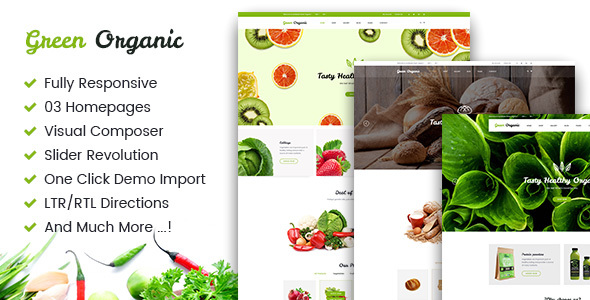 Wordpress Shop Template Green Organic - Organic Store & Bakery WooCommerce WordPress Theme