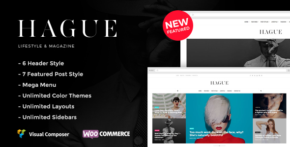 Wordpress Blog Template Hague -  Lifestyle & Magazine WordPress Theme