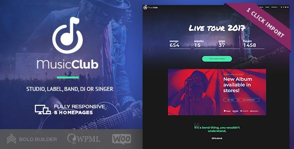 Wordpress Entertainment Template Music Club - Music, Band, Studio & DJ