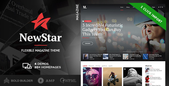 Wordpress Blog Template NewStar - News Magazine Newspaper