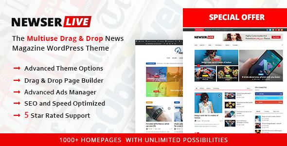 Wordpress Blog Template Newser - The Multiuse Drag and Drop News/Magazine WordPress Theme