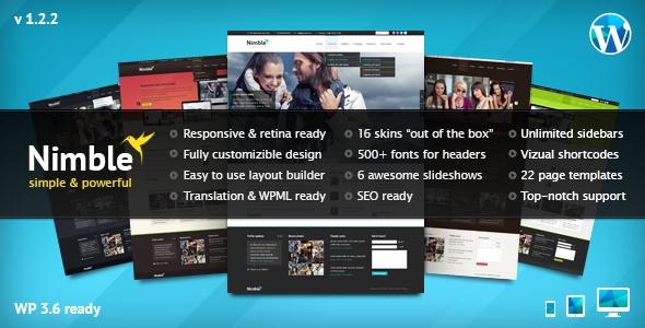 Wordpress Corporate Template Nimble — Multipurpose Retina Ready WordPress Theme