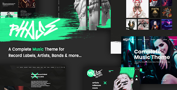 Wordpress Entertainment Template Phase - A Complete Music WordPress Theme for Record Labels and Artists