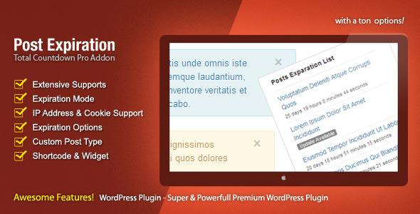 Wordpress Add-On Plugin Post Expiration - The Countdown Pro Addon