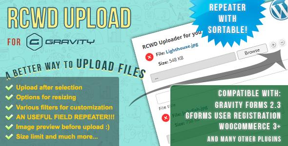 Wordpress Add-On Plugin Rcwd Upload for Gravity Forms