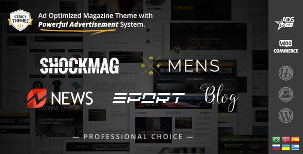 Wordpress Blog Template Shockmag - Ad Optimized Magazine WordPress Theme with Powerful Advertisement System
