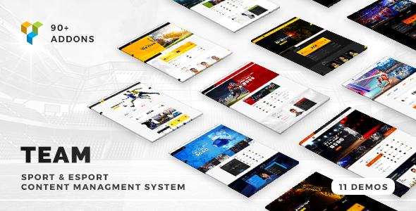 Wordpress Entertainment Template Team - Soccer, Football, Hockey, Basketball | eSport & Gaming | Sport Club News WordPress Theme