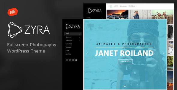 Wordpress Kreativ Template Zyra - Fullscreen Photography Theme
