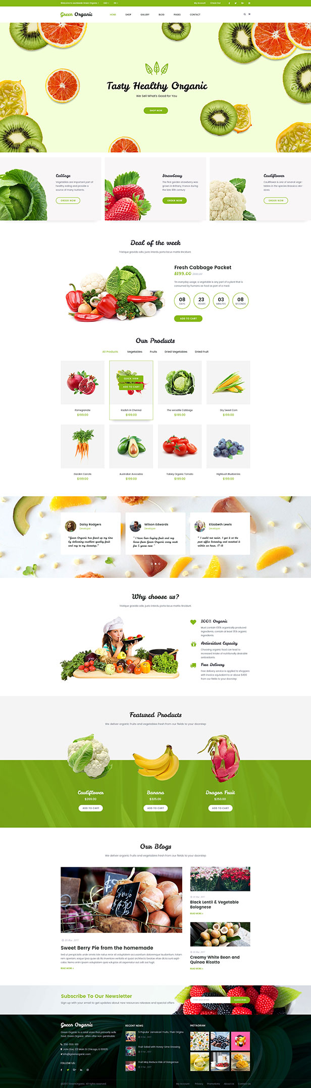 Grün Bio - Bio-Shop & Bäckerei WooCommerce WordPress Template