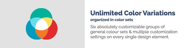 Unbegrenzte Farbvariationen in Farbsätzen Sechs absolut anpassbare Gruppen allgemeiner Farbsätze mit mehreren Anpassungseinstellungen für jedes einzelne Designelement.