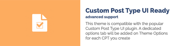 Dieses Thema ist mit dem beliebten UI-Plug-In für benutzerdefinierte Posts kompatibel. Für jedes CPT, das Sie erstellen, wird eine eigene Registerkarte mit Optionen zu den Themenoptionen hinzugefügt