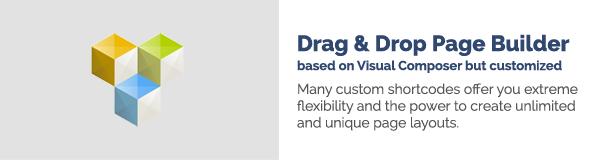 Drag & Drop Page Builder basierend auf Visual Composer, aber angepasst Viele benutzerdefinierte Shortcodes bieten Ihnen extreme Flexibilität und die Möglichkeit, unbegrenzte und einzigartige Seitenlayouts zu erstellen.