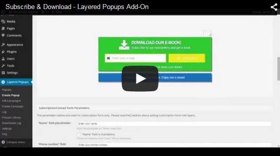 Abonnieren und Herunterladen - Layered Popups für WordPress Add-On