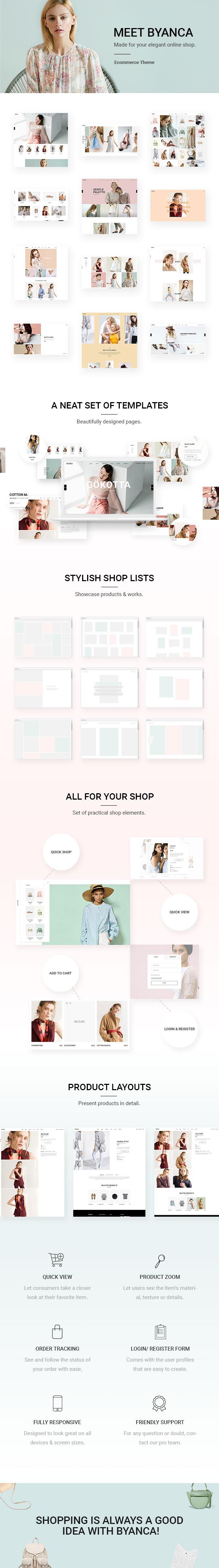 Byanca - Modernes WooCommerce-Template für Bekleidungsmarken und Shops