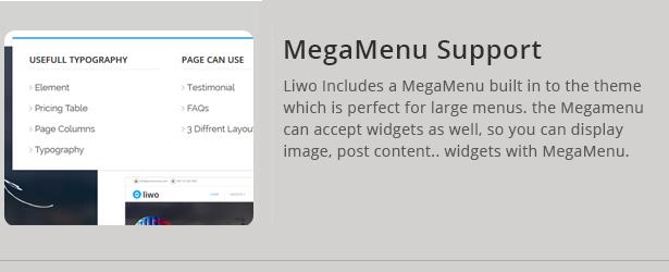 Liwo Vorlage unterstützt Megamenu - Mega Menu