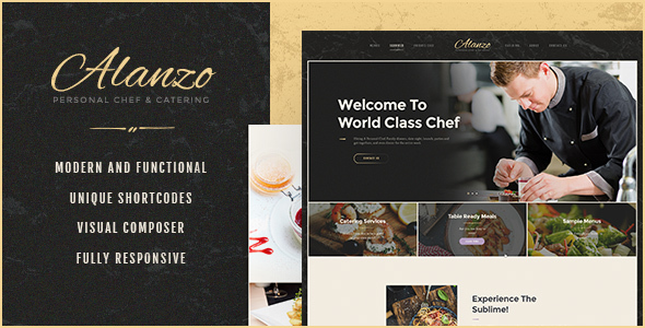 Wordpress Entertainment Template Alanzo | Personal Chef & Catering WordPress Theme