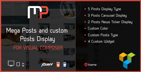 Wordpress Add-On Plugin Mega Posts Display for Visual Composer
