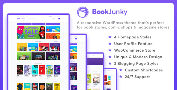 Wordpress Shop Template BookJunky - WooCommerce Book Store for WordPress