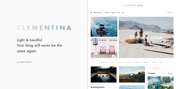 Wordpress Blog Template Clementina - Fashion, Travel, Lifestyle Blog Theme