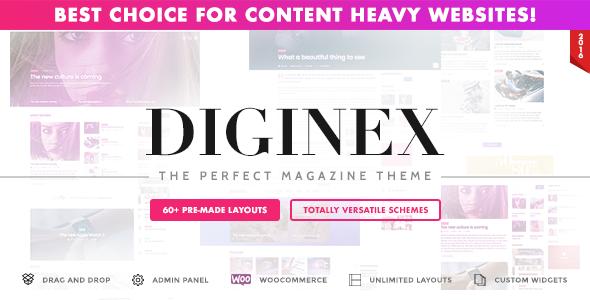 Wordpress Blog Template Diginex - Magazine, Blog, News and Viral WordPress Theme