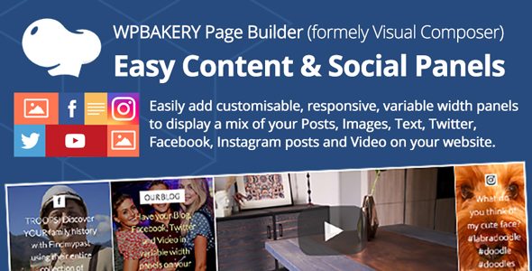 Wordpress Add-On Plugin Easy Content & Social Panels for WP Bakery Page Builder (formerly Visual Composer)