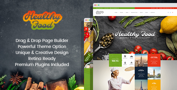 Wordpress Entertainment Template Healthy Food - Organic & Eco Restaurant WordPress Theme