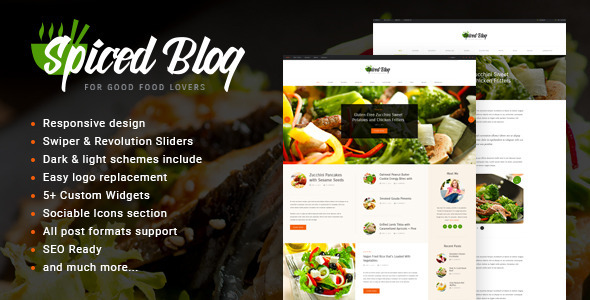 Wordpress Blog Template Spiced Blog - A Crisp Recipes & Food Personal Blog WordPress Theme