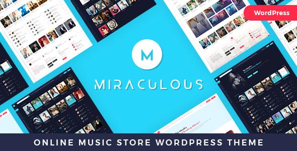 Wordpress Entertainment Template Miraculous - Online Music Store WordPress Theme