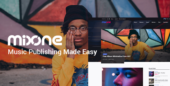 Wordpress Entertainment Template Mixone -  WordPress Music Magazine With Continuous Music Playback