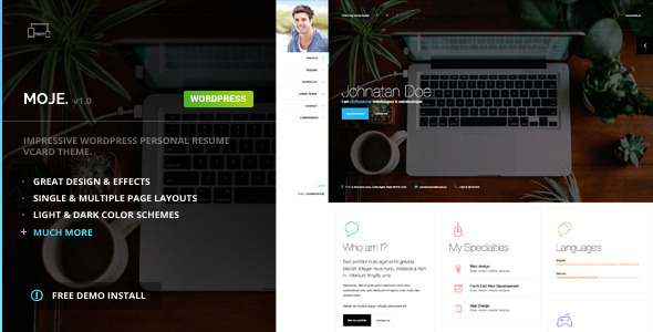 Wordpress Kreativ Template Moje - vCard Bootstrap Responsive WordPress Theme
