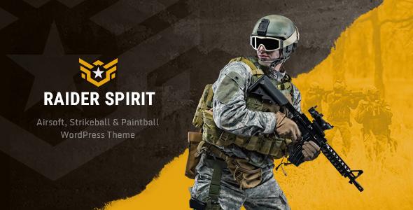 Wordpress Entertainment Template Raider Spirit   Airsoft Club & Paintball WordPress Theme