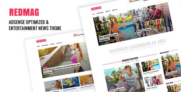 Wordpress Blog Template RedMag - AdSense Optimized & Entertainment News Theme