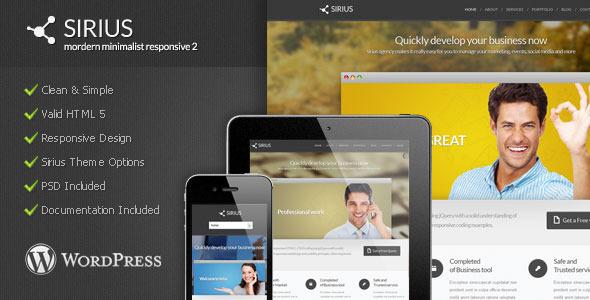 Wordpress Corporate Template Sirius - Modern Minimalist WordPress Theme