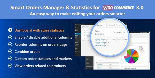 Wordpress E-Commerce Plugin Smart Orders Manager & Statistics for Woocommerce 3.0