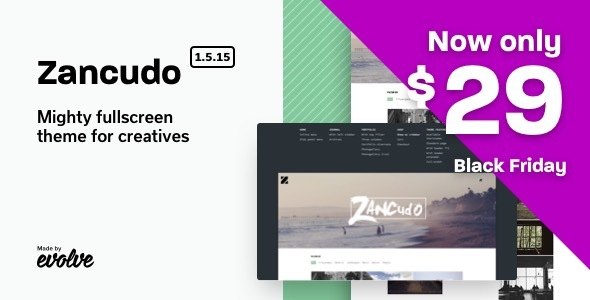 Wordpress Kreativ Template Zancudo - Mighty fullscreen theme for creatives