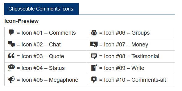 Wählen Sie aus 10 verschiedenen Symbolen für Kommentare