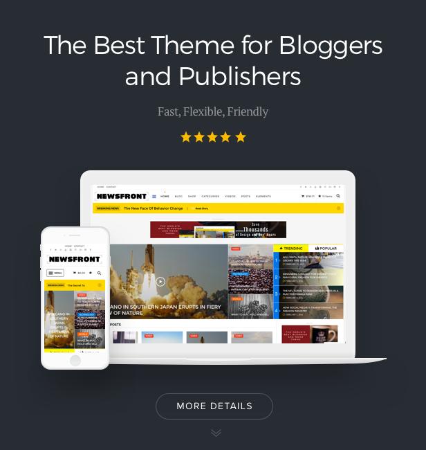 NewsFront: Blog, Nachrichten und redaktionelles eCommerce-WordPress-Vorlage